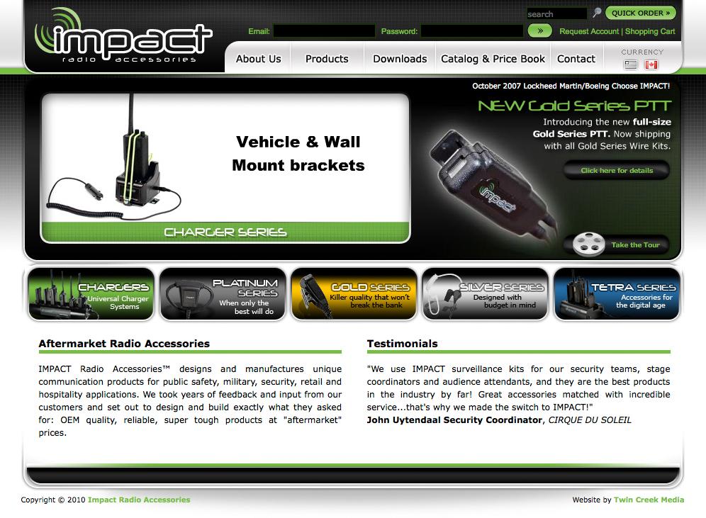 Impact Radio Accessories Website | Twin Creek Media