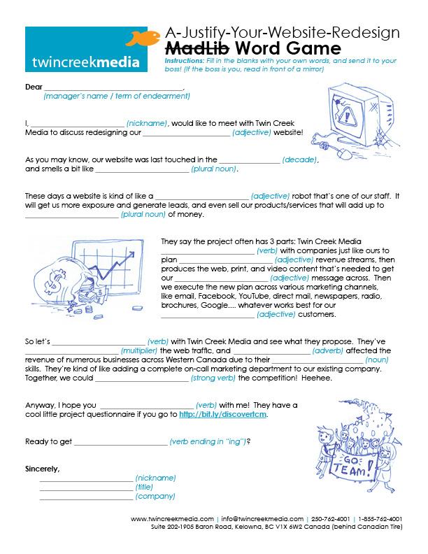 Website Design MadLib 2012