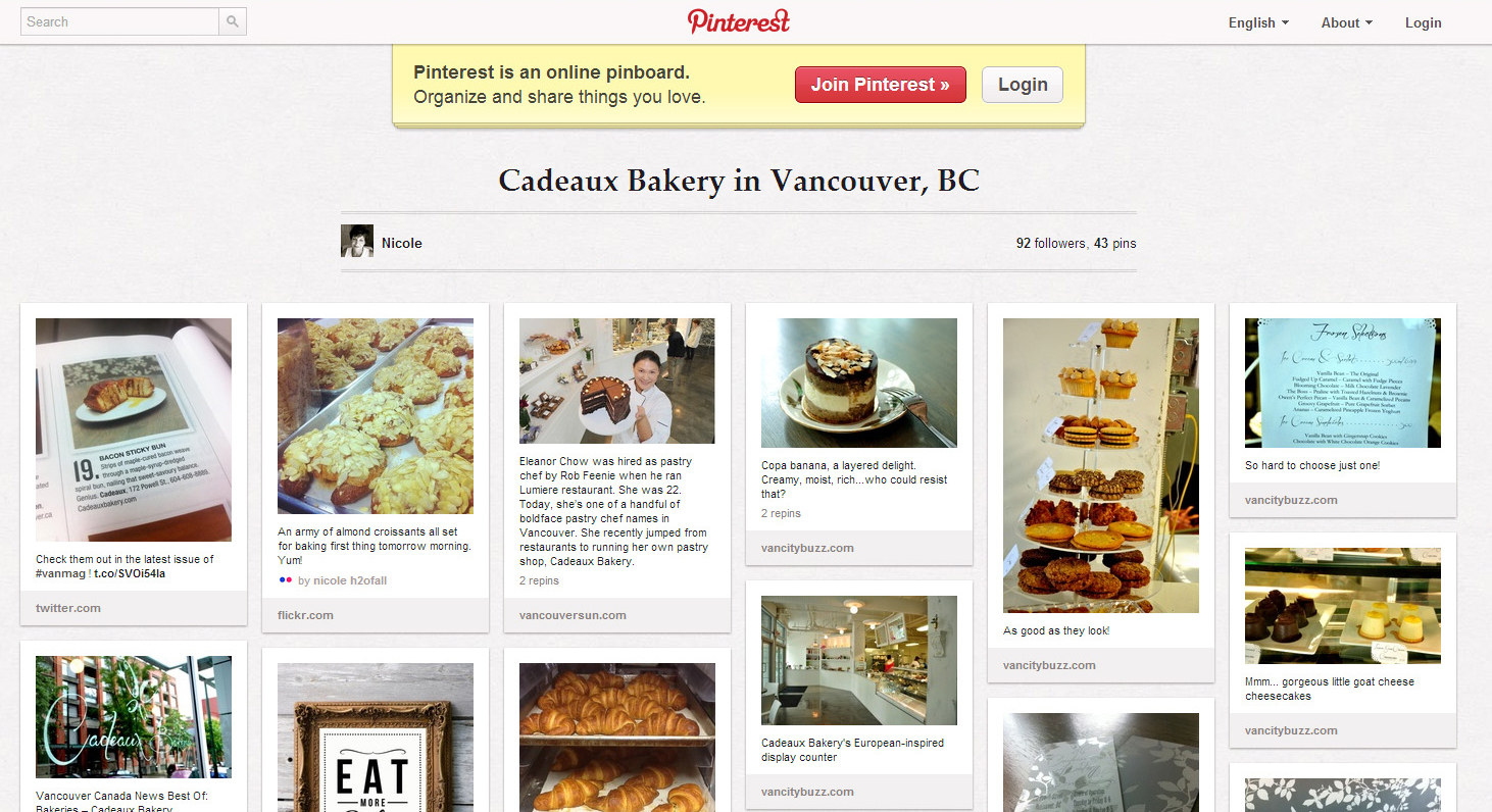 Kelowna Social Media Cadeaux Bakery Screenshot