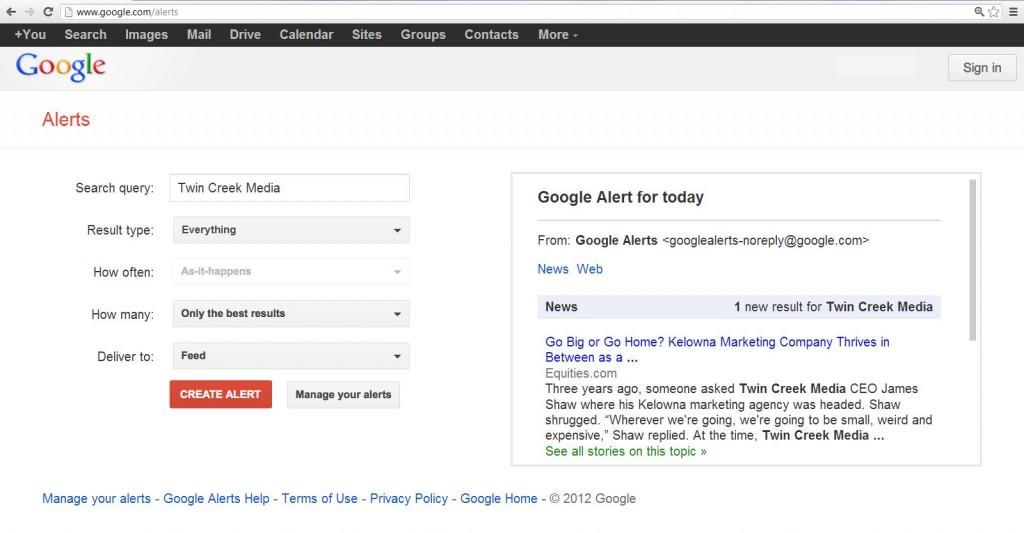 Twin Creek Media Google Alerts