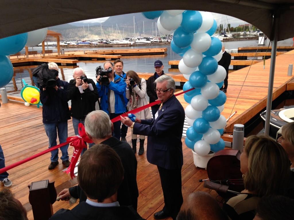 Kelowna Mayor, Walter Gray cuts the ribbon at Downtown Marina