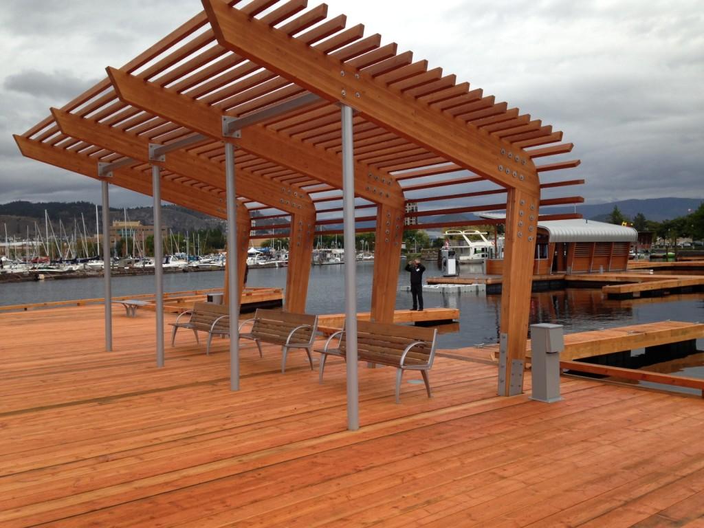 Downtown Marina Kelowna - Modern wood architecture abounds.