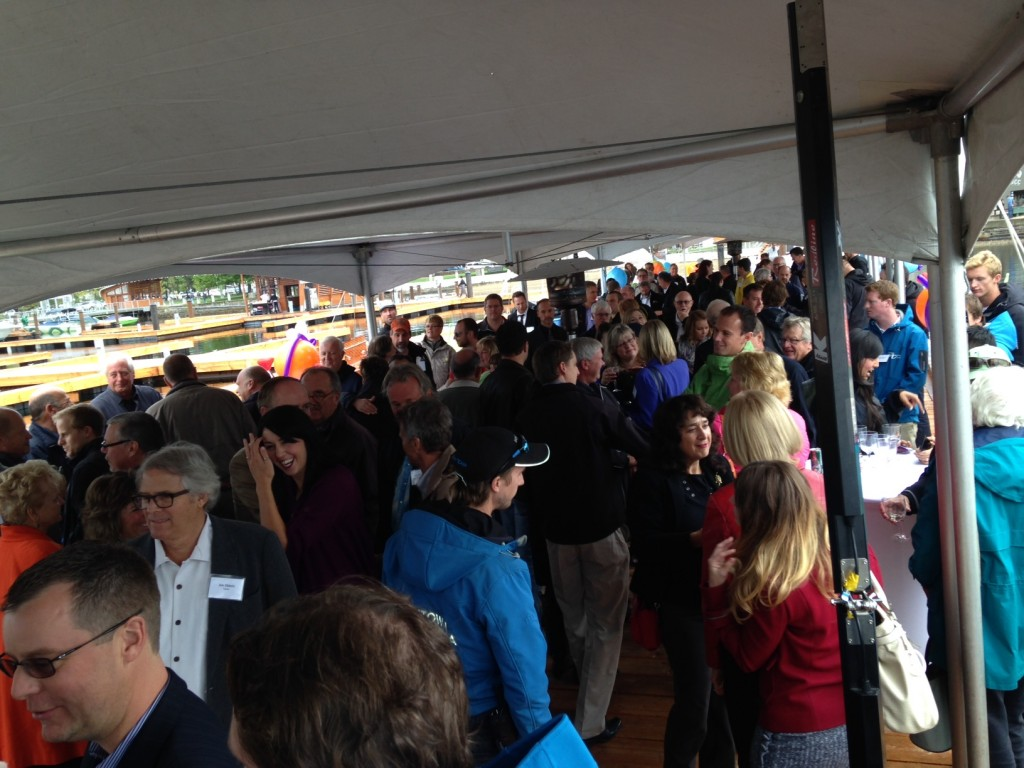 Downtown Marina Kelowna - 100s gather on the public pier section - and it didn't sink!