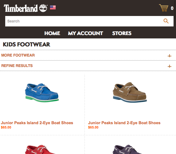 Timberland mobile website view