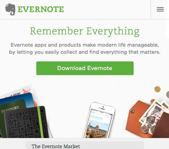 Evernote mobile website view