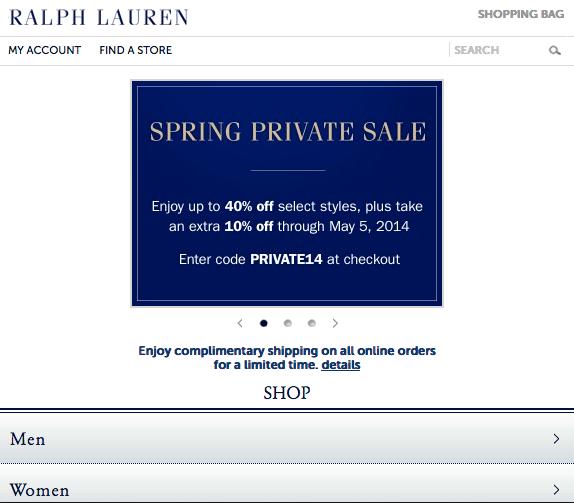 Ralph Lauren mobile website view