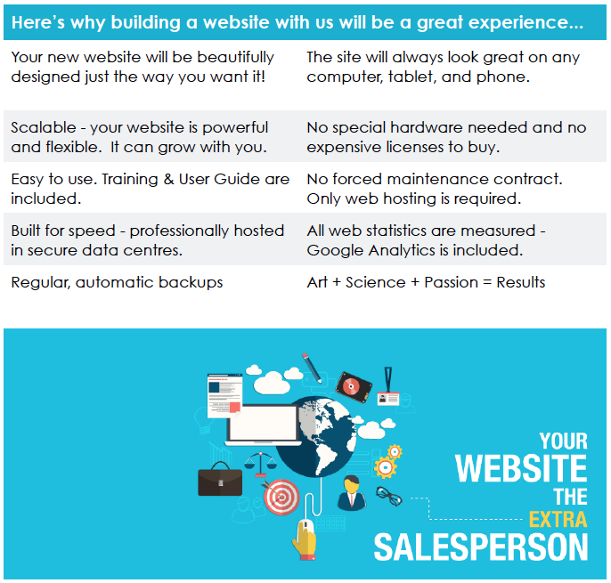 Great website design and smart functionality supports your goals, becoming your extra salesperson.