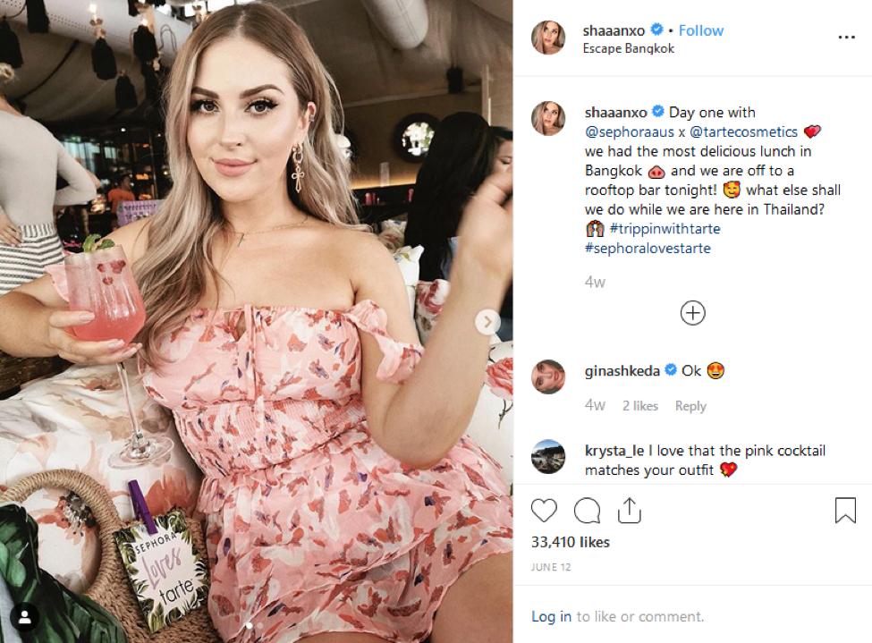 Tarte Cosmetics Instagram Influencer